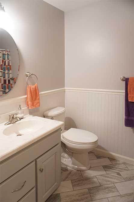 Diagonal ceramic tile in bathroom remodel
