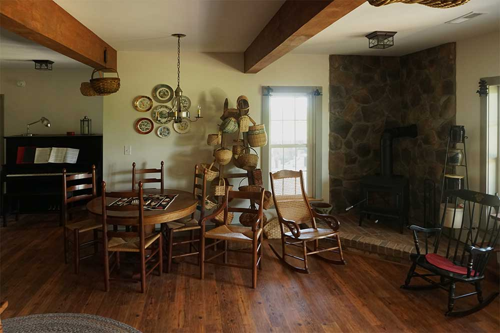 Rustic stone hearth and wood beams