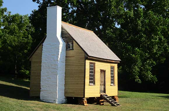 Pine siding on historic Charles Sweeny cabin in Appomattox, VA