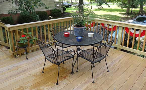 Treated wood deck in Forest, VA