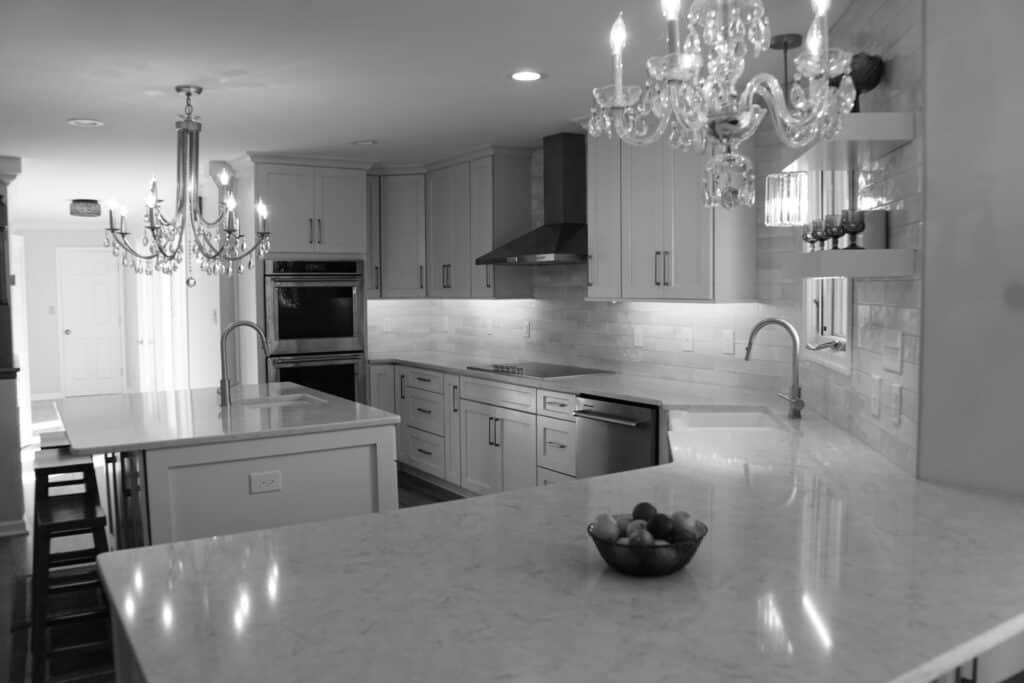 Lynchburg Kitchen Remodel shown in black and white