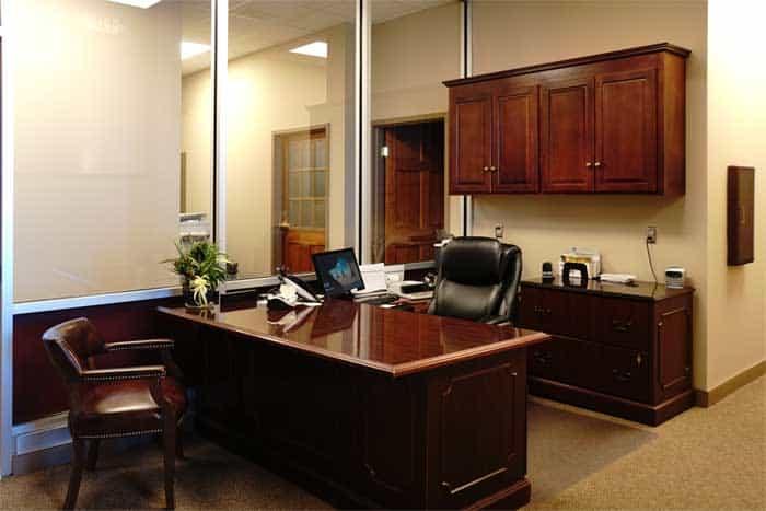 Farmer's Bank receptionist desk after the renovation