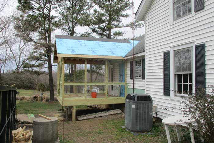 Appomattox addition for screen porch under construction