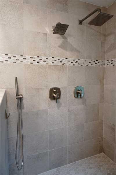 Custom tile shower after bathroom renovation