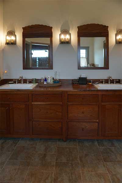 Custom dual vanity in master bath remodel